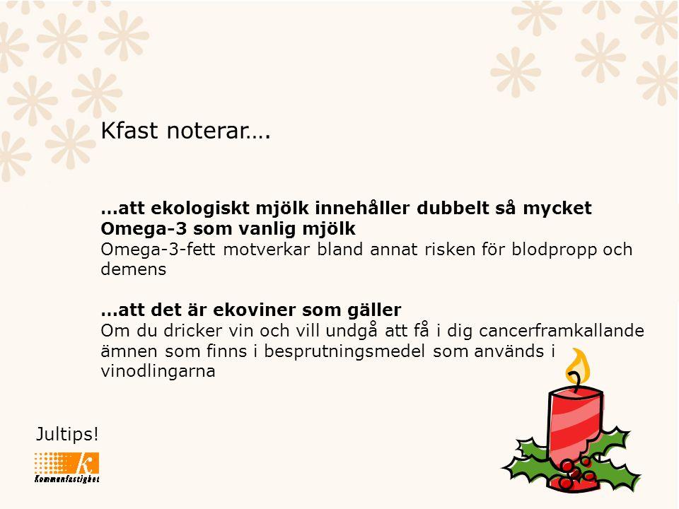 Jultips! Kfast noterar…. …att ekologiskt mjölk innehåller dubbelt så mycket Omega-3 som vanlig mjölk Omega-3-fett motverkar bland annat risken för blo