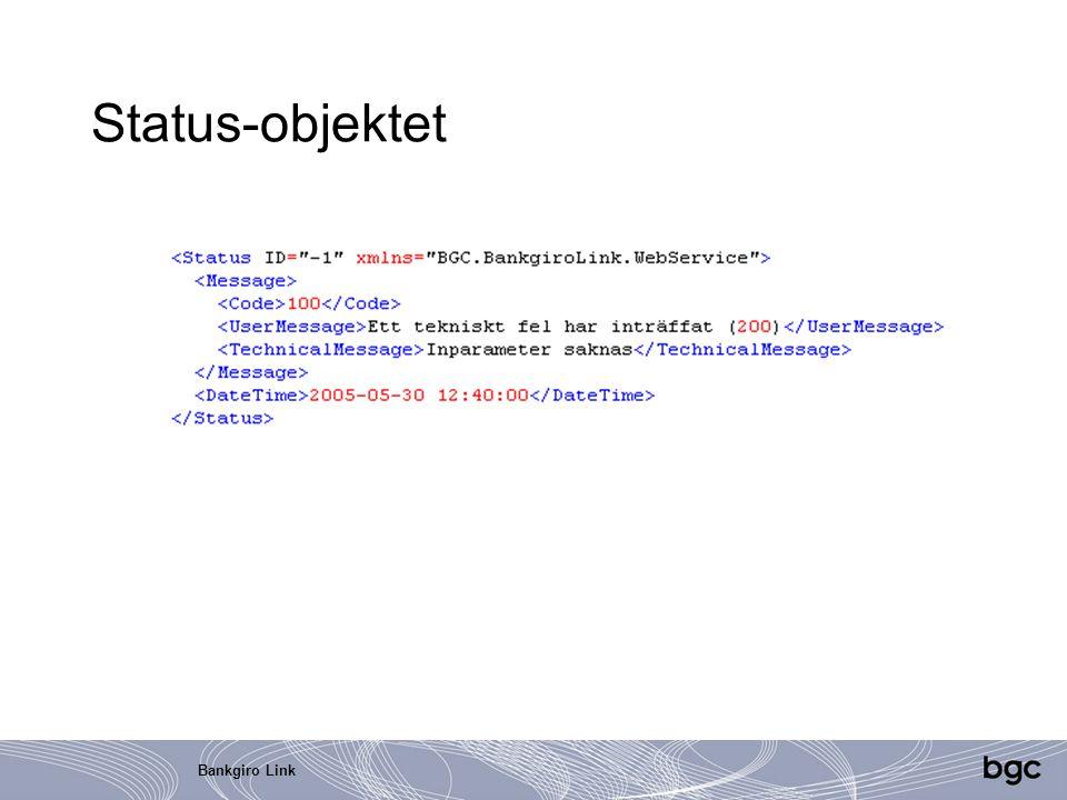 Bankgiro Link Status-objektet