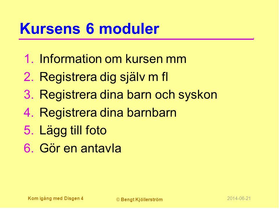 Kursens 6 moduler 1.Information om kursen mm 2.Registrera dig själv m fl 3.Registrera dina barn och syskon 4.Registrera dina barnbarn 5.Lägg till foto