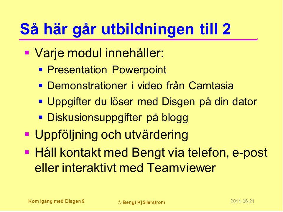 Så här går utbildningen till 2  Varje modul innehåller:  Presentation Powerpoint  Demonstrationer i video från Camtasia  Uppgifter du löser med Di