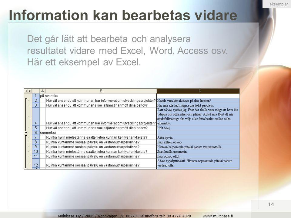 Multibase Oy / 2006 / Rönnvägen 19, 00270 Helsingfors tel: 09 4774 4079 www.multibase.fi 14 Information kan bearbetas vidare Det går lätt att bearbeta och analysera resultatet vidare med Excel, Word, Access osv.