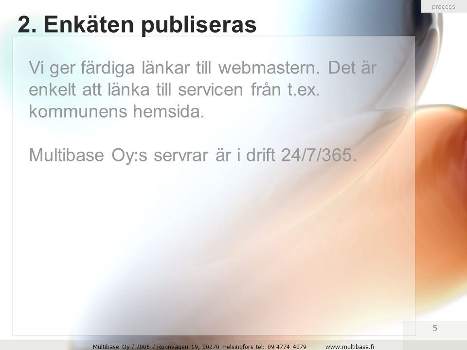 Multibase Oy / 2006 / Rönnvägen 19, 00270 Helsingfors tel: 09 4774 4079 www.multibase.fi 5 2.