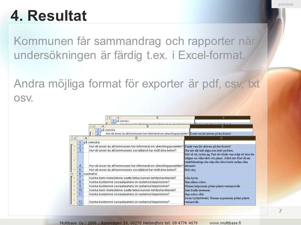 Multibase Oy / 2006 / Rönnvägen 19, 00270 Helsingfors tel: 09 4774 4079 www.multibase.fi 8 Här följer några eksemplar av frågor och rapporter eksemplar