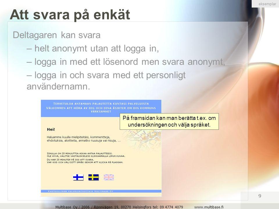 Multibase Oy / 2006 / Rönnvägen 19, 00270 Helsingfors tel: 09 4774 4079 www.multibase.fi 9 Att svara på enkät Deltagaren kan svara – helt anonymt utan att logga in, – logga in med ett lösenord men svara anonymt, – logga in och svara med ett personligt användernamn.
