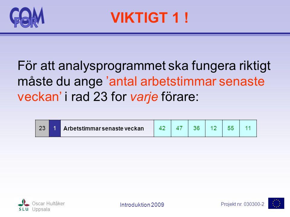 Projekt nr. 030300-2 Oscar Hultåker Uppsala Introduktion 2009 VIKTIGT 1 .