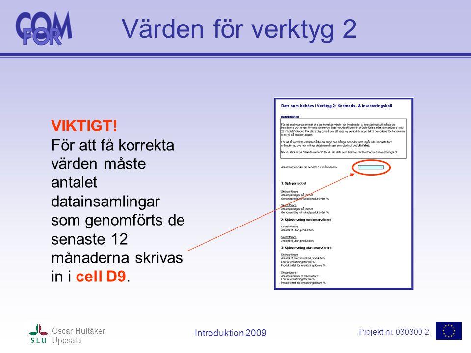 Projekt nr. 030300-2 Oscar Hultåker Uppsala Introduktion 2009 Värden för verktyg 2 VIKTIGT.