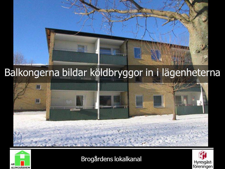 Brogårdens lokalkanal Balkongerna bildar köldbryggor in i lägenheterna