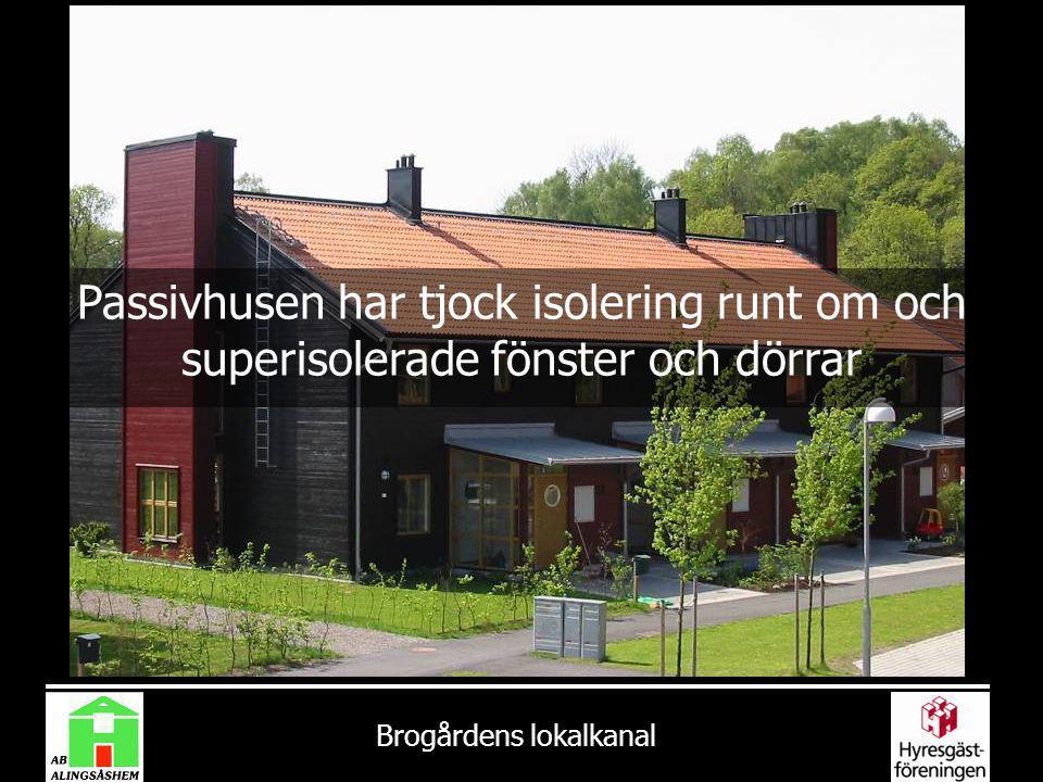 Brogårdens lokalkanal Passivhusen har tjock isolering runt om och superisolerade fönster och dörrar