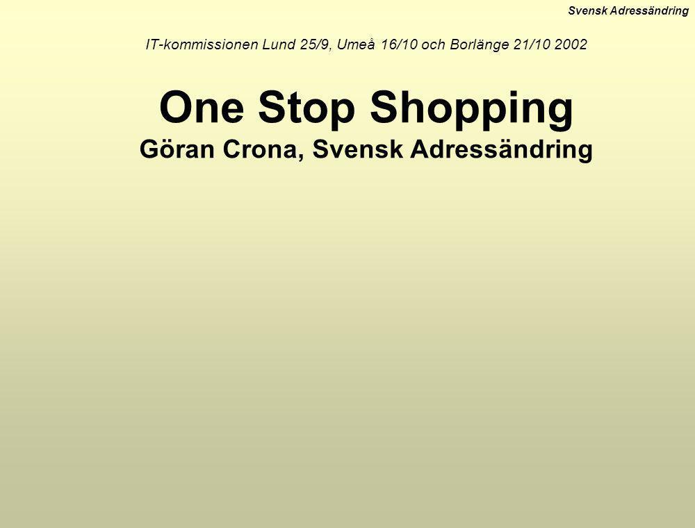 Svensk Adressändring IT-kommissionen Lund 25/9, Umeå 16/10 och Borlänge 21/10 2002 One Stop Shopping Göran Crona, Svensk Adressändring
