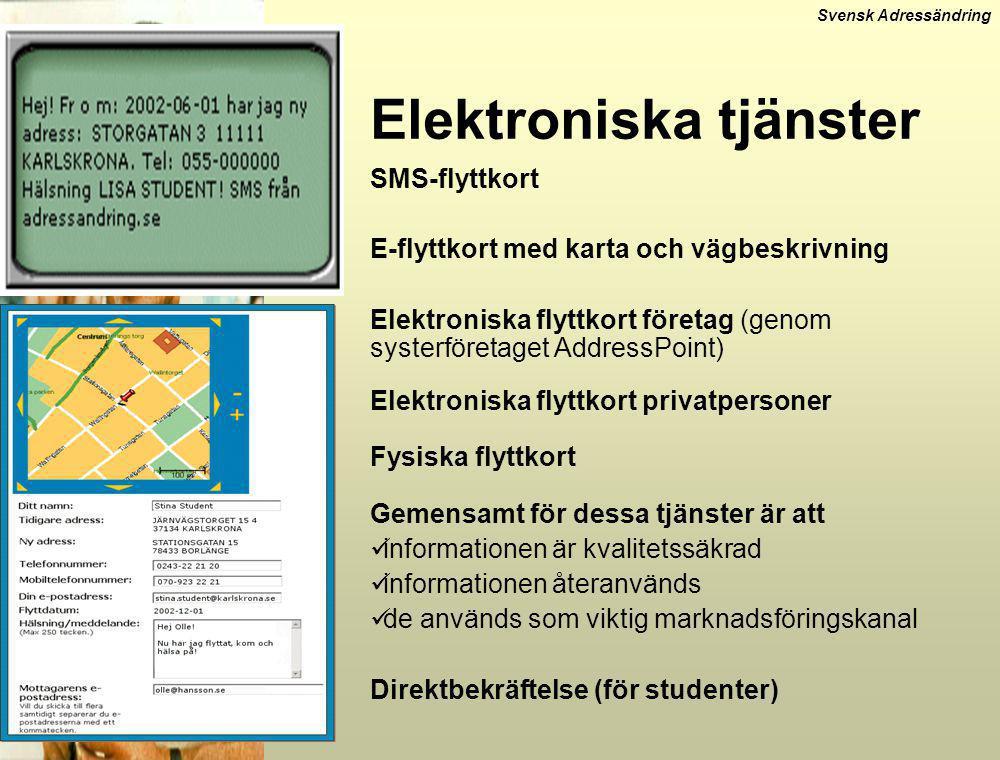 Svensk Adressändring Elektroniska tjänster SMS-flyttkort E-flyttkort med karta och vägbeskrivning Elektroniska flyttkort företag (genom systerföretage