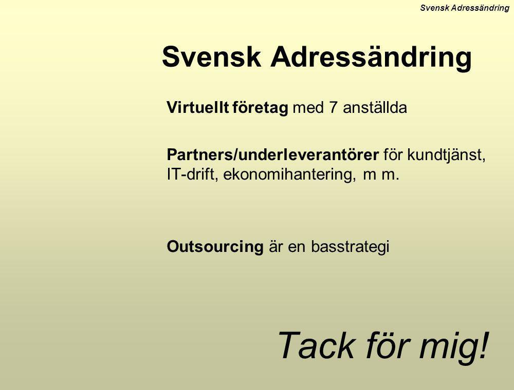 Svensk Adressändring Virtuellt företag med 7 anställda Partners/underleverantörer för kundtjänst, IT-drift, ekonomihantering, m m. Outsourcing är en b