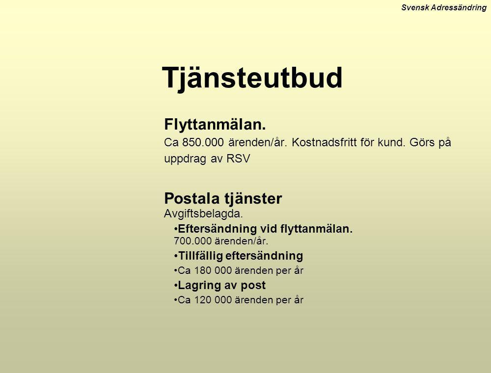 Svensk Adressändring Tjänsteutbud Flyttanmälan. Ca 850.000 ärenden/år. Kostnadsfritt för kund. Görs på uppdrag av RSV Postala tjänster Avgiftsbelagda.