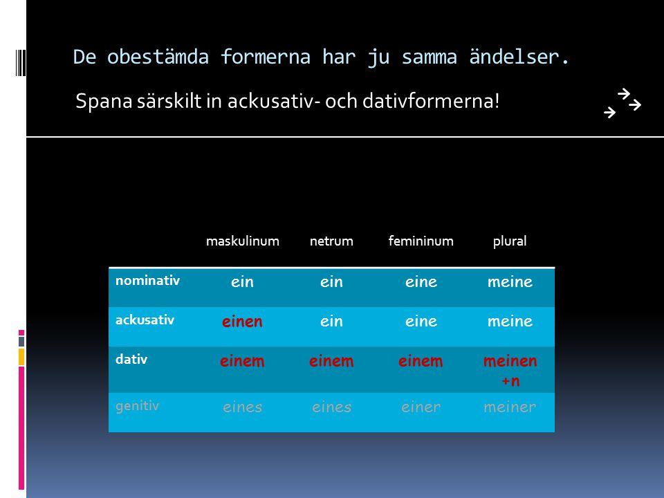 De obestämda formerna har ju samma ändelser.Spana särskilt in ackusativ- och dativformerna.