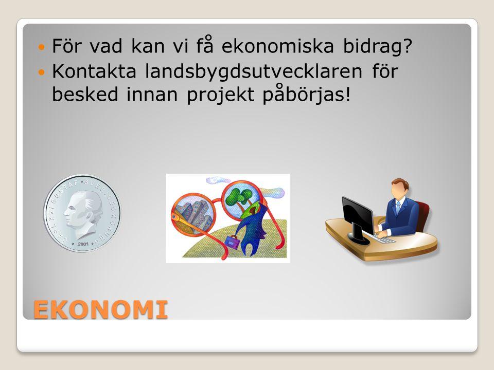 EKONOMI  För vad kan vi få ekonomiska bidrag?  Kontakta landsbygdsutvecklaren för besked innan projekt påbörjas!