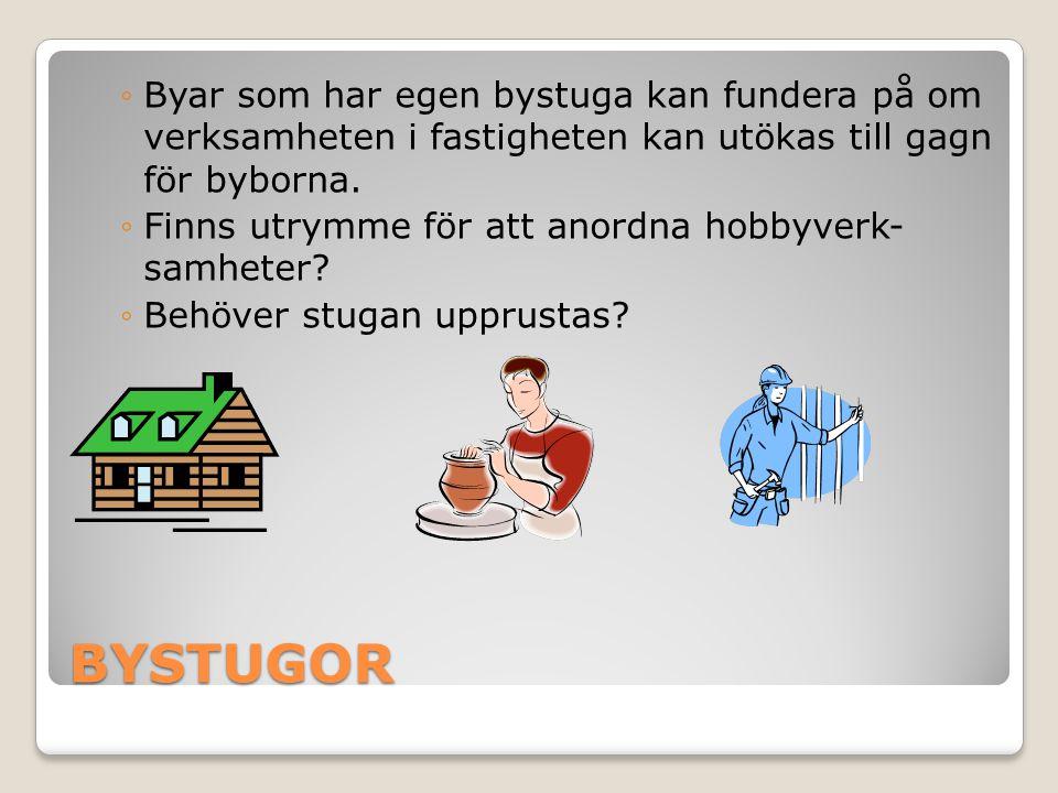 BYSTUGOR ◦Byar som har egen bystuga kan fundera på om verksamheten i fastigheten kan utökas till gagn för byborna. ◦Finns utrymme för att anordna hobb