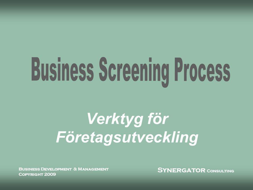 Synergator Consulting Business Development & Management Copyright 2009 Vad är BSP n Business Screening Process är ett ledningsverktyg för affärsdrivande verksamheter n Processen är indelad i tre steg l Analys indikerar prioriterade områden, skapar verksamhetsprofil och värdering l Fördjupad analys i delar av verksamheten som behöver förändring l Full kontroll med processidentifiering, uppföljnings- och kontrollrutiner samt övergripande styrsystem
