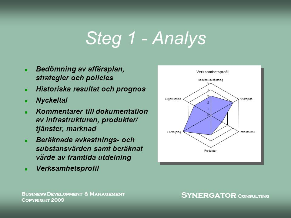 Synergator Consulting Business Development & Management Copyright 2009 Steg 1 - Analys n Bedömning av affärsplan, strategier och policies n Historiska