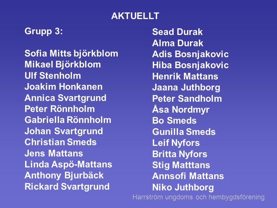 AKTUELLT Grupp 3: Sofia Mitts björkblom Mikael Björkblom Ulf Stenholm Joakim Honkanen Annica Svartgrund Peter Rönnholm Gabriella Rönnholm Johan Svartg
