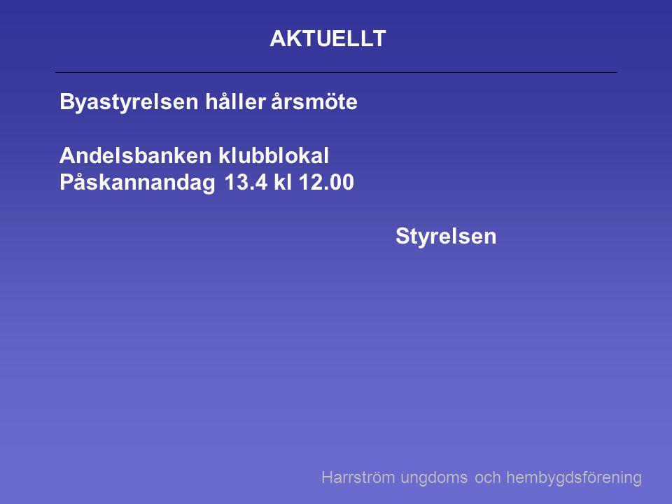 AKTUELLT Byastyrelsen håller årsmöte Andelsbanken klubblokal Påskannandag 13.4 kl 12.00 Styrelsen Harrström ungdoms och hembygdsförening