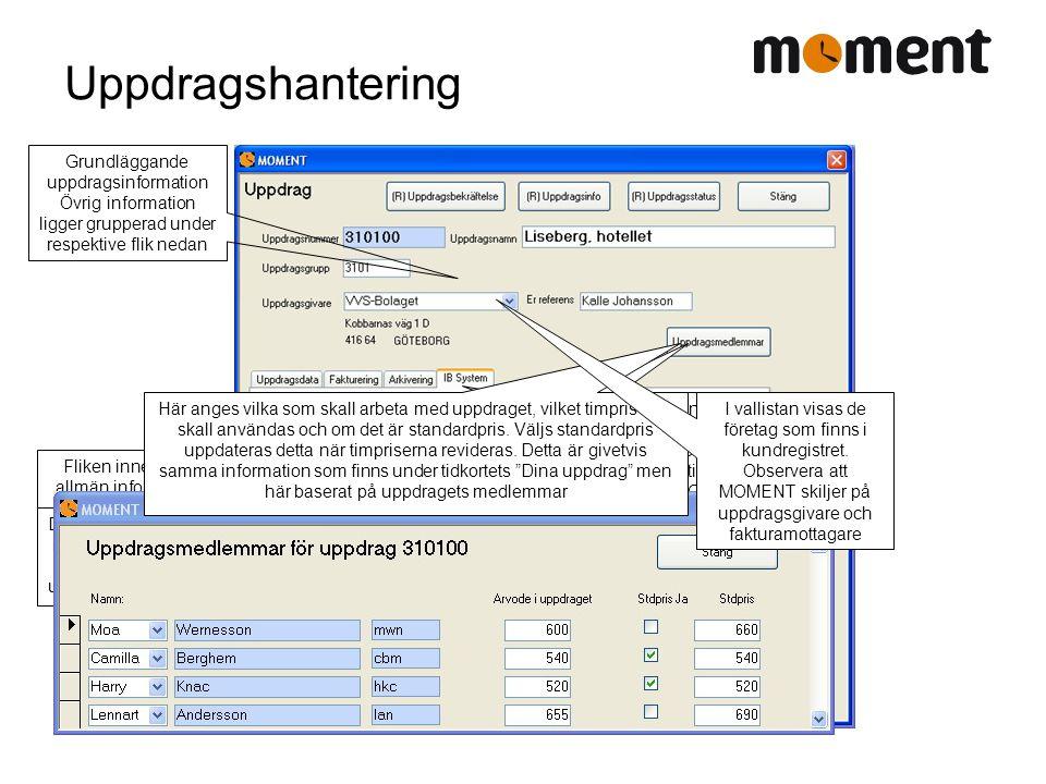 Uppdragshantering Fliken innehåller allmän information som rör uppdraget Denna flik innehåller information som rör fakturering och uppdragsbekräftelse