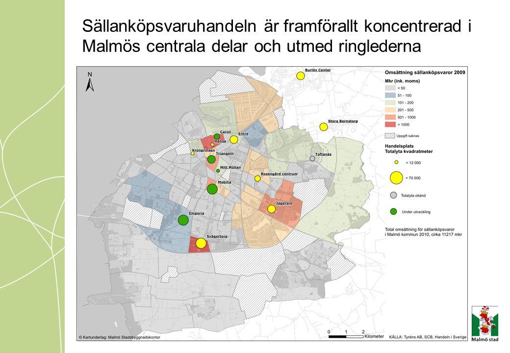 Sällanköpsvaruhandeln är framförallt koncentrerad i Malmös centrala delar och utmed ringlederna