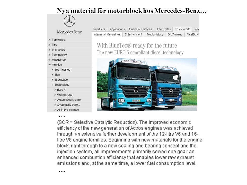 Nya material för motorblock hos Mercedes-Benz… … …