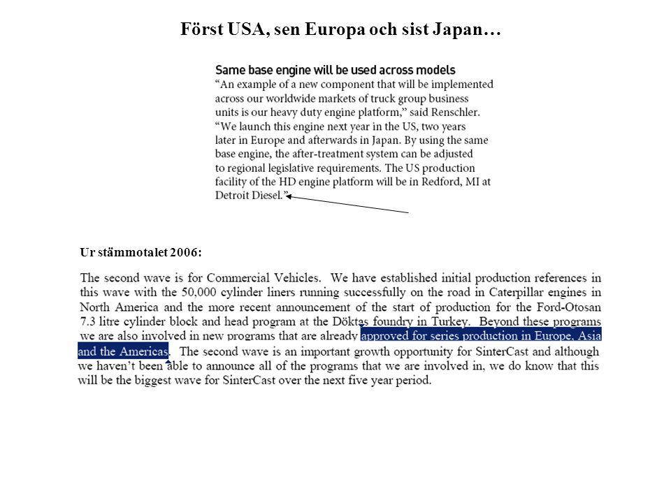 Först USA, sen Europa och sist Japan… Ur stämmotalet 2006: