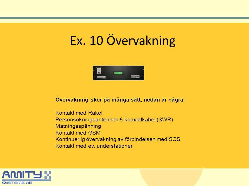 Ex. 10 Övervakning Övervakning sker på många sätt, nedan är några: Kontakt med Rakel Personsökningsantennen & koaxialkabel (SWR) Matningsspänning Kont