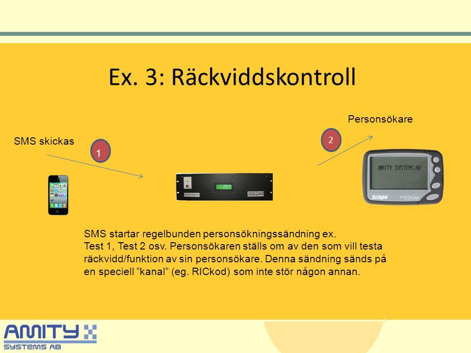 Ex. 3: Räckviddskontroll Personsökare SMS skickas SMS startar regelbunden personsökningssändning ex. Test 1, Test 2 osv. Personsökaren ställs om av de