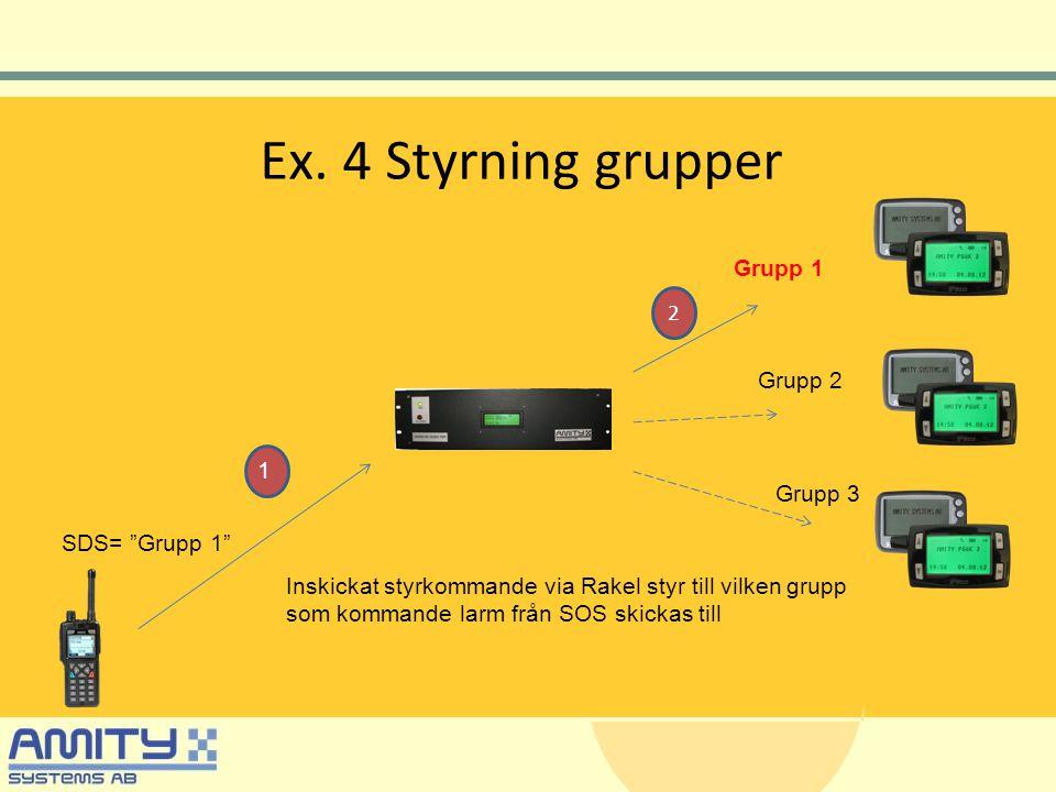 """Ex. 4 Styrning grupper Grupp 1 Inskickat styrkommande via Rakel styr till vilken grupp som kommande larm från SOS skickas till SDS= """"Grupp 1"""" Grupp 2"""