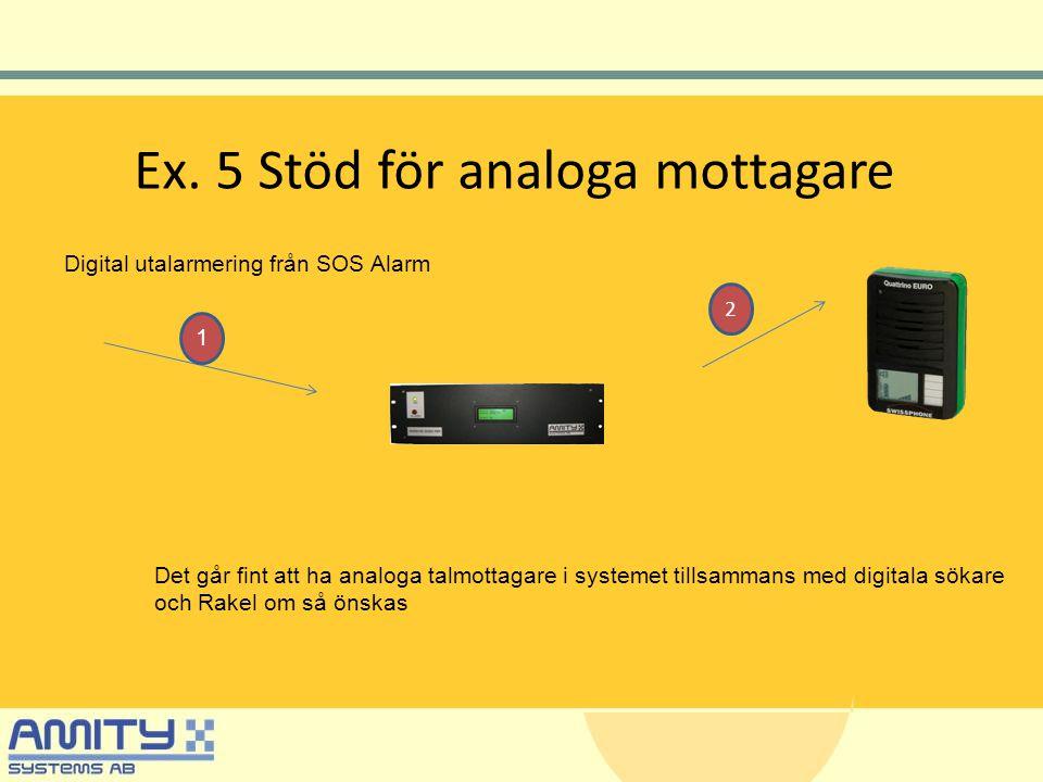 Ex. 5 Stöd för analoga mottagare Digital utalarmering från SOS Alarm Det går fint att ha analoga talmottagare i systemet tillsammans med digitala söka