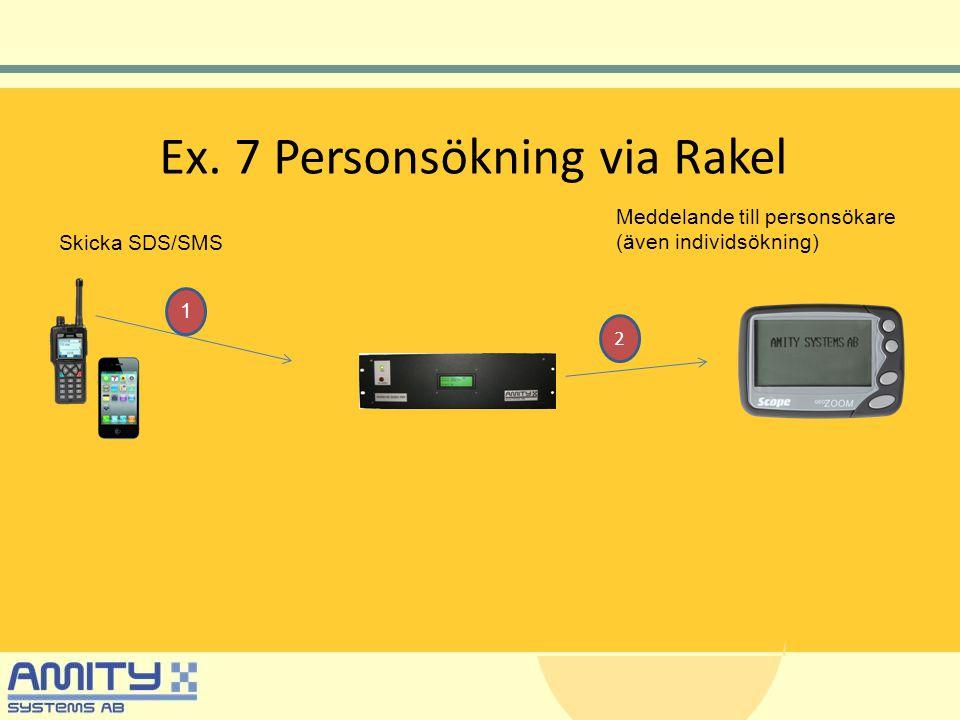 Ex. 7 Personsökning via Rakel Skicka SDS/SMS Meddelande till personsökare (även individsökning) 1 2