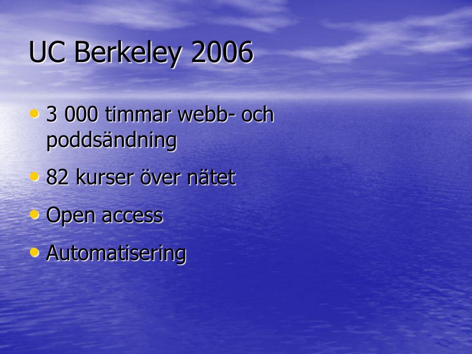 UC Berkeley 2006 • 3 000 timmar webb- och poddsändning • 82 kurser över nätet • Open access • Automatisering