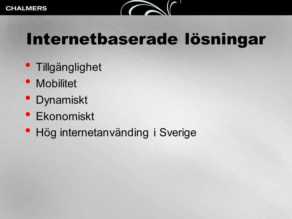 Internetbaserade lösningar • Tillgänglighet • Mobilitet • Dynamiskt • Ekonomiskt • Hög internetanvänding i Sverige