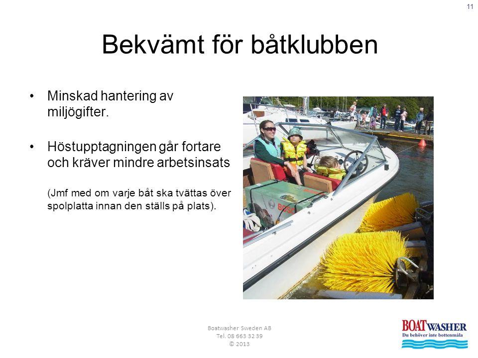 11 Boatwasher Sweden AB Tel. 08 663 32 39 © 2013 Bekvämt för båtklubben •Minskad hantering av miljögifter. •Höstupptagningen går fortare och kräver mi