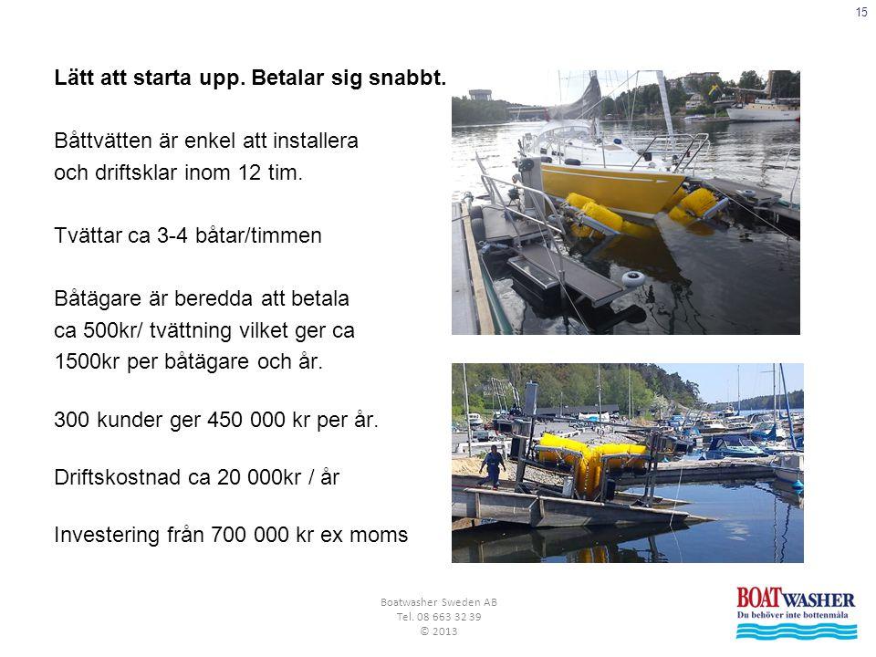 15 Boatwasher Sweden AB Tel. 08 663 32 39 © 2013 Lätt att starta upp. Betalar sig snabbt. Båttvätten är enkel att installera och driftsklar inom 12 ti
