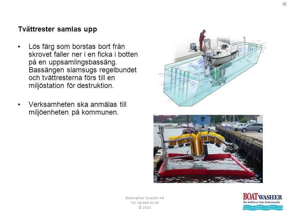 16 Boatwasher Sweden AB Tel. 08 663 32 39 © 2013 Tvättrester samlas upp •Lös färg som borstas bort från skrovet faller ner i en ficka i botten på en u