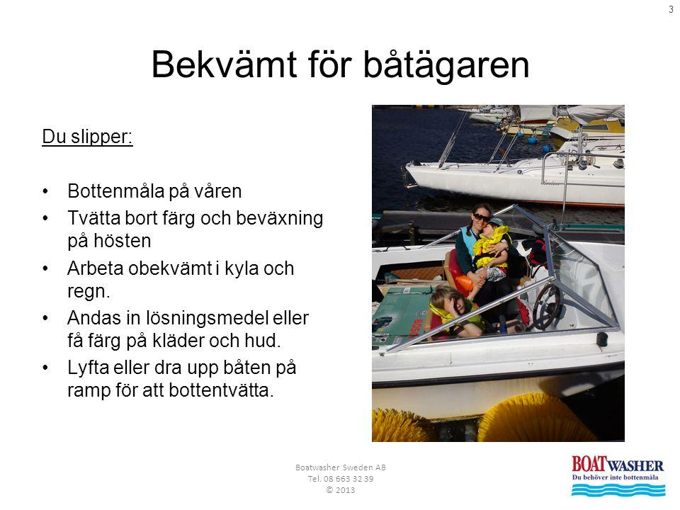 3 Boatwasher Sweden AB Tel. 08 663 32 39 © 2013 Bekvämt för båtägaren Du slipper: •Bottenmåla på våren •Tvätta bort färg och beväxning på hösten •Arbe