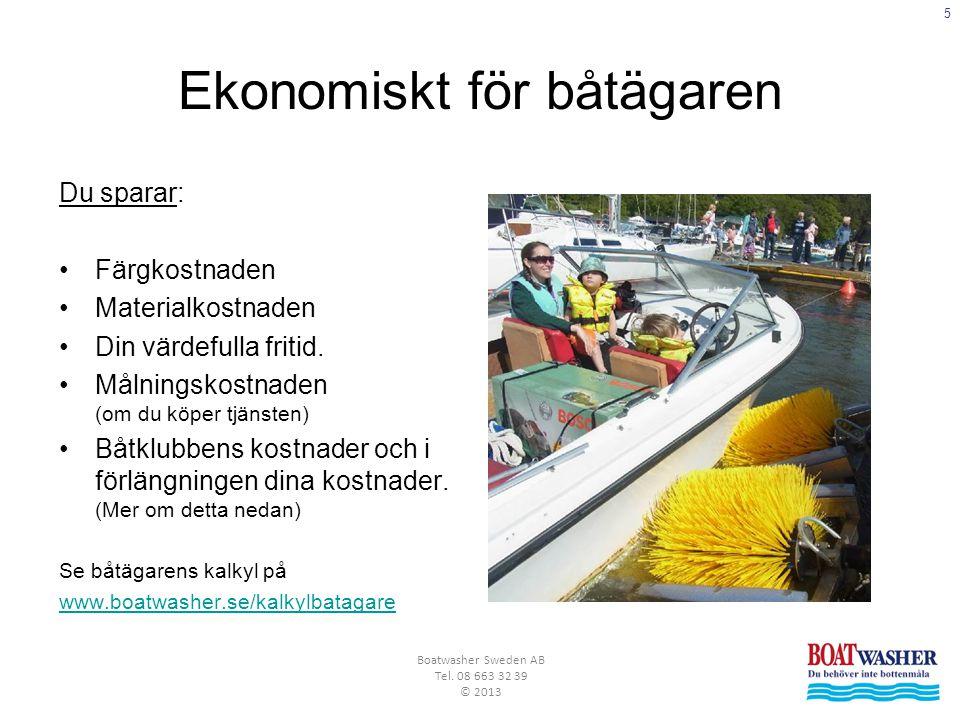 5 Boatwasher Sweden AB Tel. 08 663 32 39 © 2013 Ekonomiskt för båtägaren Du sparar: •Färgkostnaden •Materialkostnaden •Din värdefulla fritid. •Målning