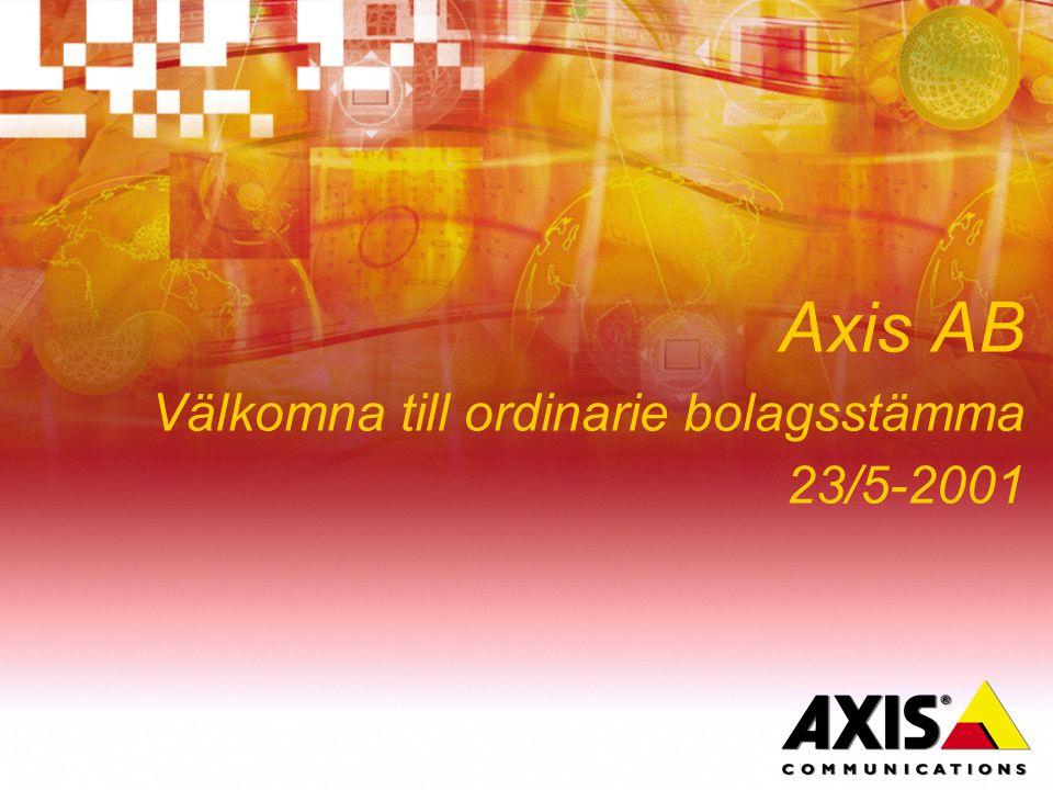 Axis AB Välkomna till ordinarie bolagsstämma 23/5-2001