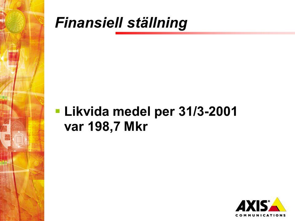Finansiell ställning  Likvida medel per 31/3-2001 var 198,7 Mkr