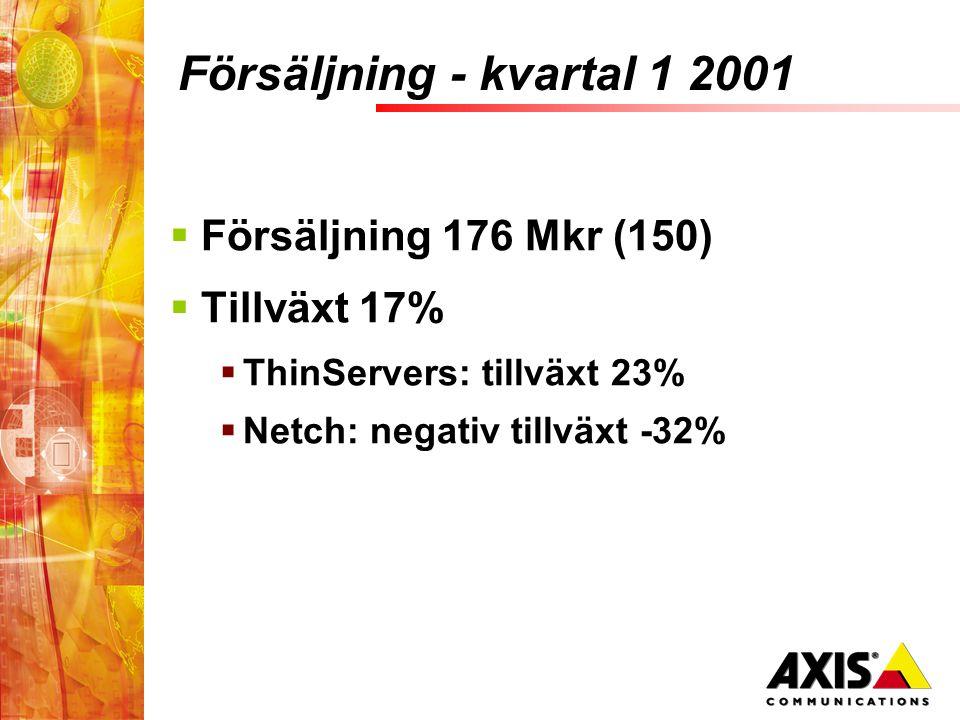 Försäljning - kvartal 1 2001  Försäljning 176 Mkr (150)  Tillväxt 17%  ThinServers: tillväxt 23%  Netch: negativ tillväxt -32%