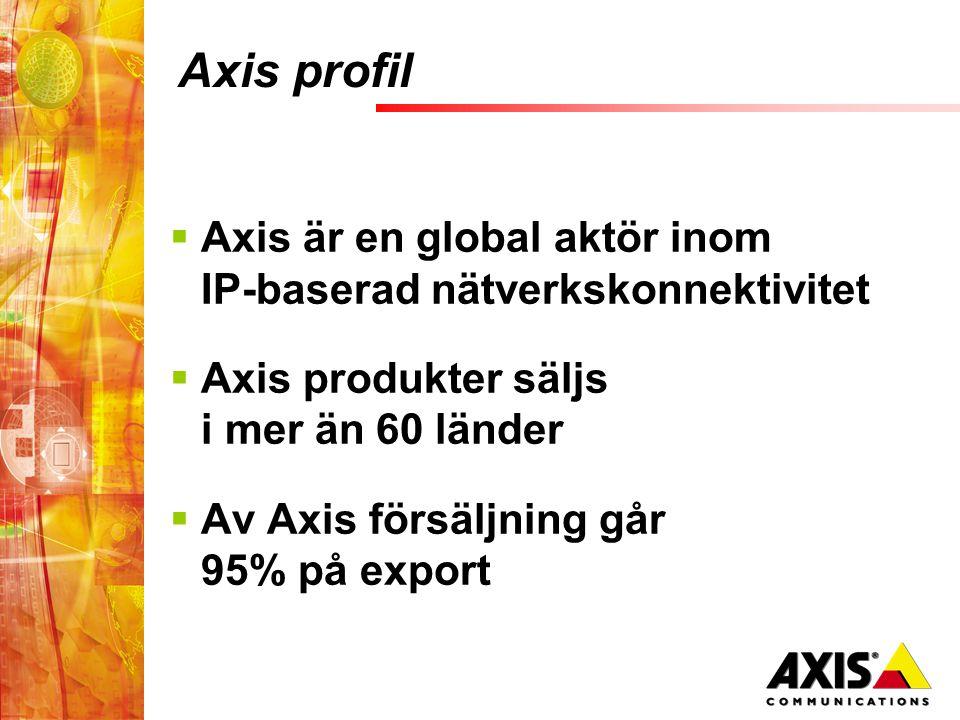 Axis profil  Axis är en global aktör inom IP-baserad nätverkskonnektivitet  Axis produkter säljs i mer än 60 länder  Av Axis försäljning går 95% på export