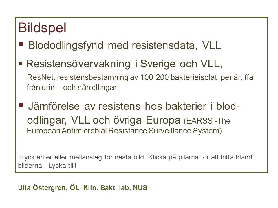 Bildspel  Blododlingsfynd med resistensdata, VLL  Resistensövervakning i Sverige och VLL, ResNet, resistensbestämning av 100-200 bakterieisolat per
