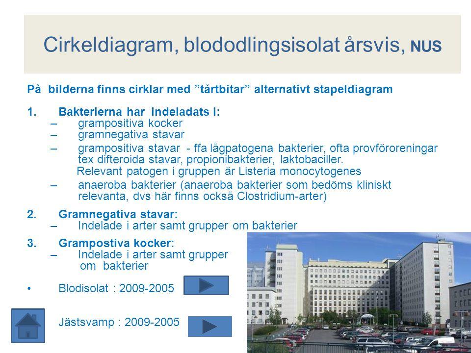 """Cirkeldiagram, blododlingsisolat årsvis, NUS På bilderna finns cirklar med """"tårtbitar"""" alternativt stapeldiagram 1.Bakterierna har indeladats i: –gram"""