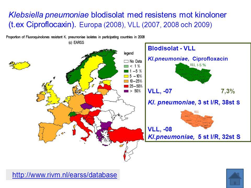 Klebsiella pneumoniae blodisolat med resistens mot kinoloner (t.ex Ciproflocaxin). Europa (2008), VLL (2007, 2008 och 2009) http://www.rivm.nl/earss/d