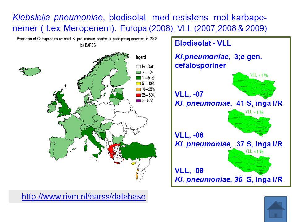 Klebsiella pneumoniae, blodisolat med resistens mot karbape- nemer ( t.ex Meropenem). Europa (2008), VLL (2007,2008 & 2009) http://www.rivm.nl/earss/d