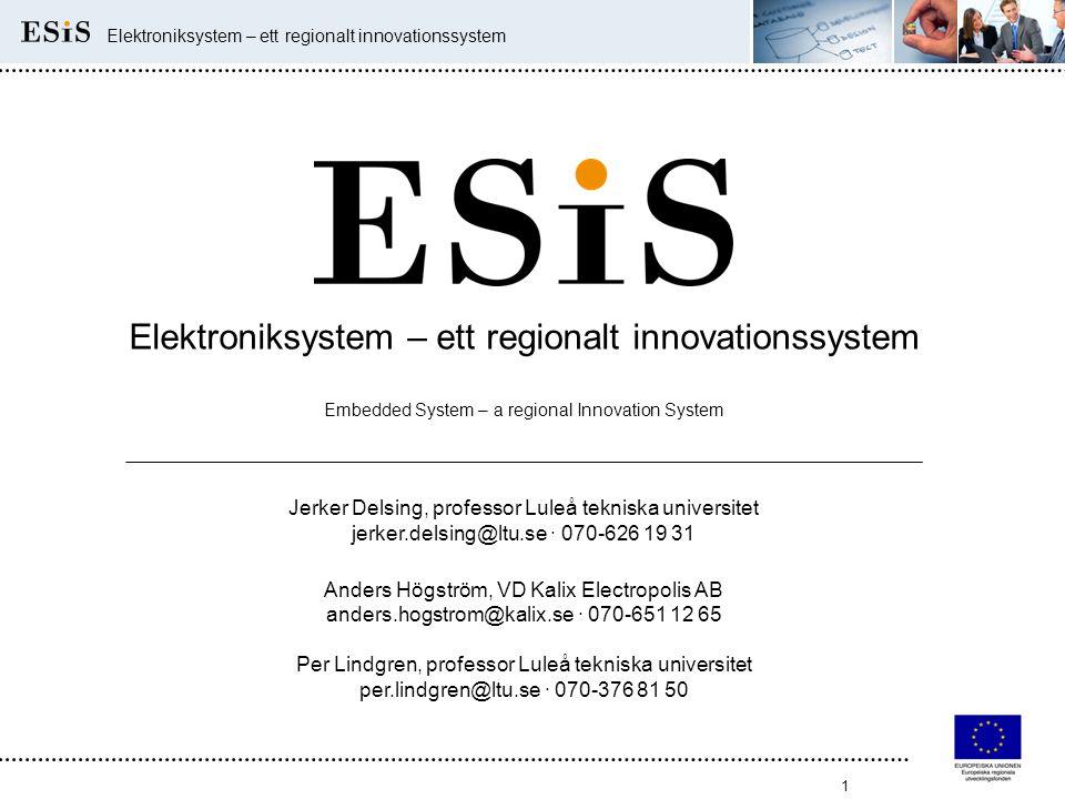 1 Elektroniksystem – ett regionalt innovationssystem Embedded System – a regional Innovation System Jerker Delsing, professor Luleå tekniska universit