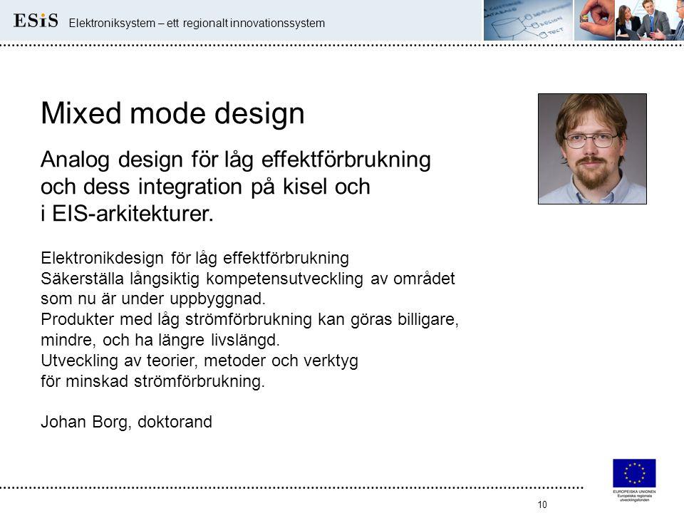 10 Elektroniksystem – ett regionalt innovationssystem Mixed mode design Analog design för låg effektförbrukning och dess integration på kisel och i EI