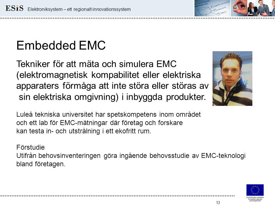 13 Elektroniksystem – ett regionalt innovationssystem Embedded EMC Tekniker för att mäta och simulera EMC (elektromagnetisk kompabilitet eller elektri